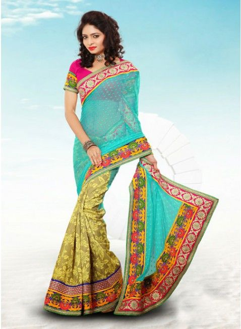 Melodic Beige & Cyan Blue Embroidered #Saree