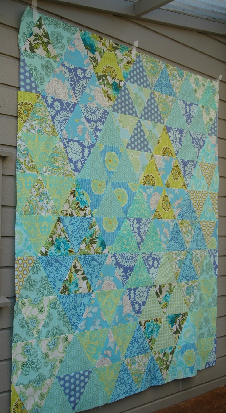 Quilt it: flimsy.  Love this soothing 60 degree triangle quilt!