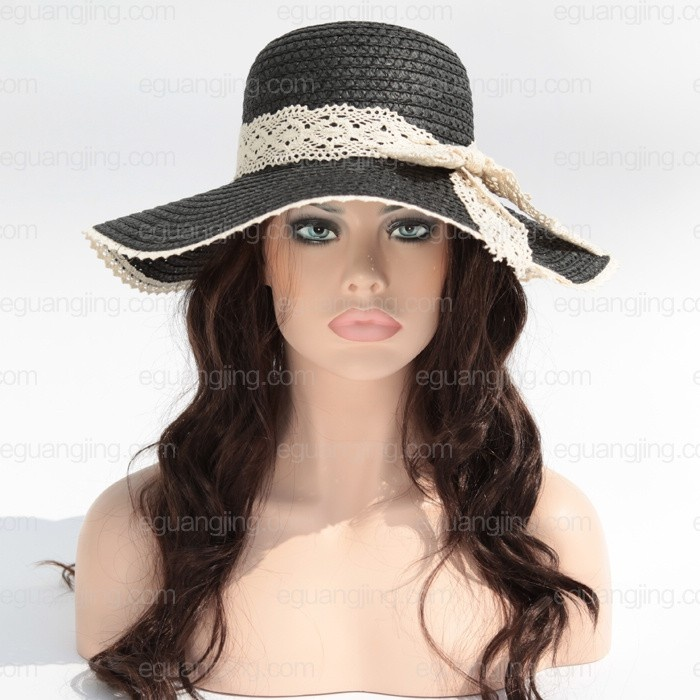 Ladies' Fashion Wide Large Brim Straw Hat with Ribbon Price: $10.99+Free shipping