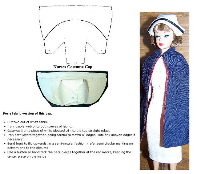 Barbie nurse cap instructions - I pinned this from Pinterest, so I hope it is okay to share and isn't copyrighted.