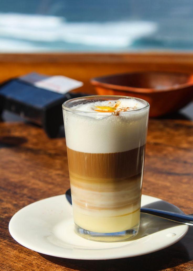 Barraquito coffee: sweet condensed milk, licor 43/rum, coffee, milk froth, cinnamon, lemon zest
