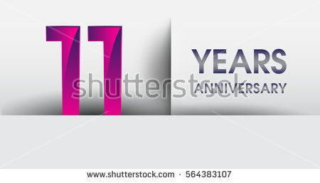 eleven years Anniversary celebration logo, flat design isolated on white background, vector elements for banner, invitation card for 11th birthday party