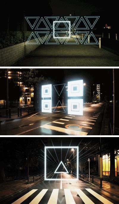 Night stroll geometric lightscapes animated on the streets of tokyo by tao tajima