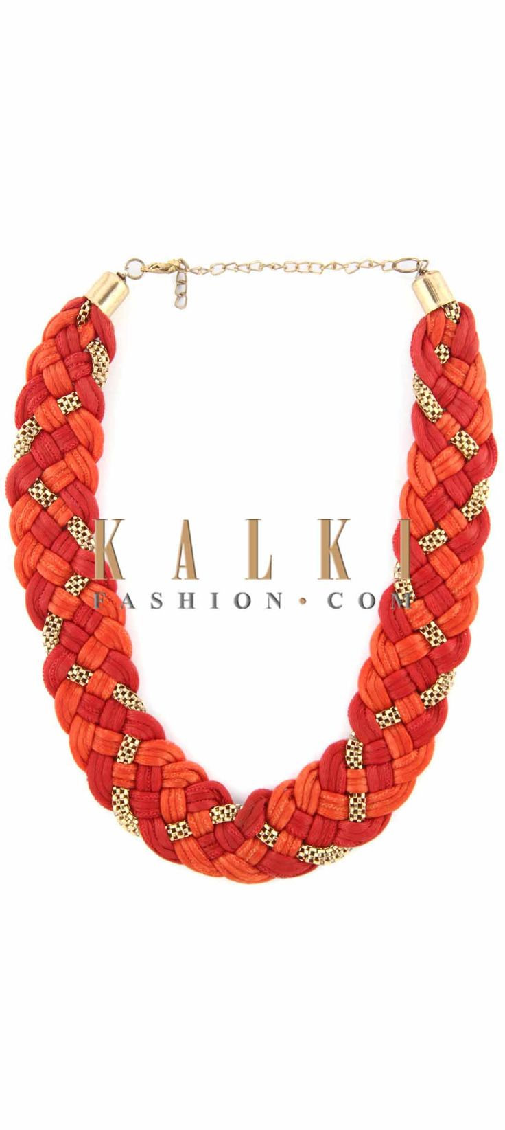 Buy Online from the link below. We ship worldwide (Free Shipping over US$100) Price-$19 Click Anywhere to Tag http://www.kalkifashion.com/rust-and-red-moti-embellished-necklace-only-on-kalki.html