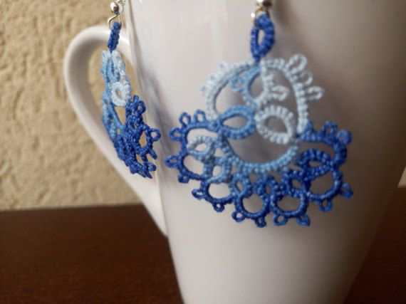 Blue and White Tatted Lace Earrings Blue and White by EstaTatting