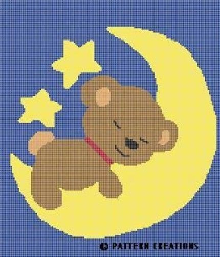 CROCHET PATTERN TEDDY BEAR SLEEPING ON MOON GRAPH CHART E-MAILED.PDF
