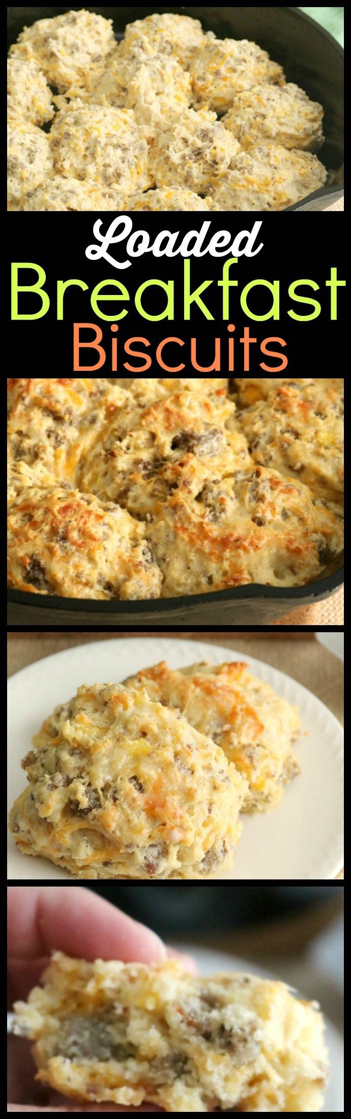 These Loaded Breakfast Biscuits are a fast family favorite because they are easy to make and portable, which make them the perfect grab and go breakfast - especially when we travel. They're also a great brunch menu item. Same great taste as a layered breakfast biscuit with all the components baked right into the biscuit!