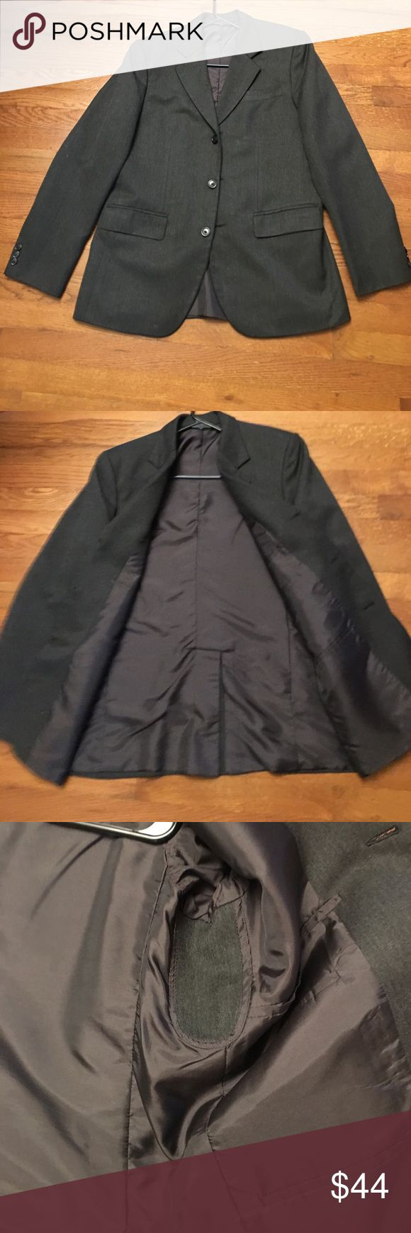 Men's grey sport coat. Nearly new. Size 35R Charcoal 3 button nearly new Herringbone weave sport coat. Size 35R. Sleeves are 17 inches long. Shoulders are 16 inches across.  Mid weight fabric.  Fully lined  4 interior pockets. Suits & Blazers Sport Coats & Blazers