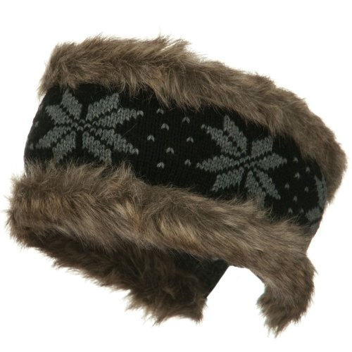 Fur Trim Knit Head Band - Black Grey W12S21B $19.99