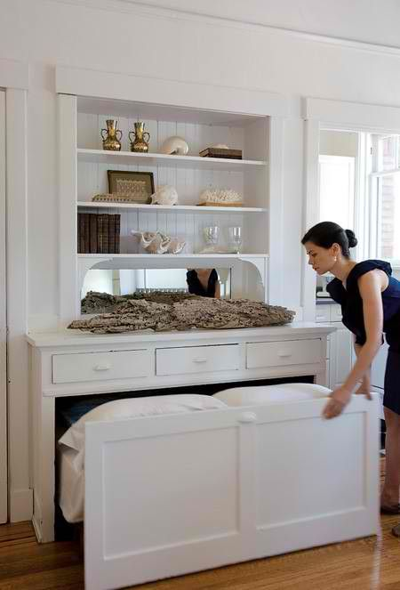 10 Hidden Beds Ideas -  - the bed tucks under counters in the walk-in closet and kitchen counters.
