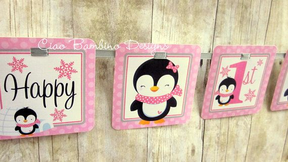 Personalized / Penguin Happy Birthday Banner / by ciaobambino