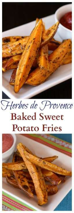 Herbes de Provence Baked Sweet Potato Fries - crispy fries from your oven, flavored with olive oil and herbs | cupcakesandkalechips.com | gluten free, vegan, paleo