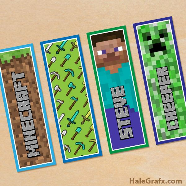 Free Printable Minecraft Bookmarks Minecraft Party Printables Minecraft Printables Minecraft Printables Free