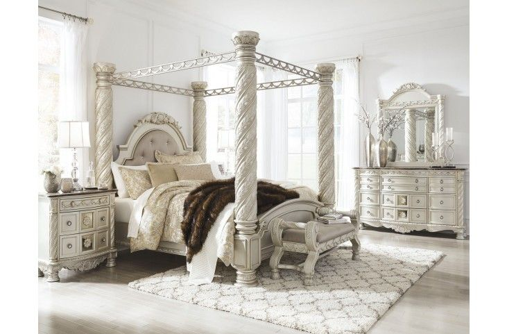 Cassimore North Shore Pearl Silver Upholstered Poster Canopy Bedroom Set From Ashley Coleman Furniture Canopy Bedroom Sets Canopy Bedroom King Bedroom Sets