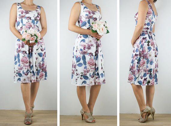 Bridesmaid dress Ladies short floral dress knee length pink