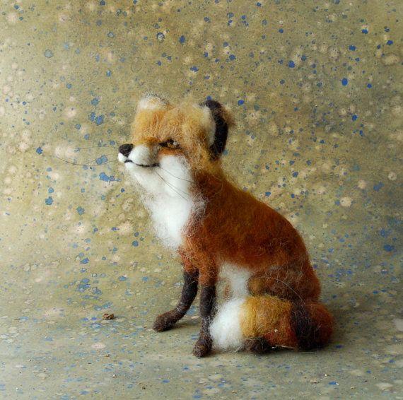 Needle Felted Fox by sarasark on Etsy, $115.00