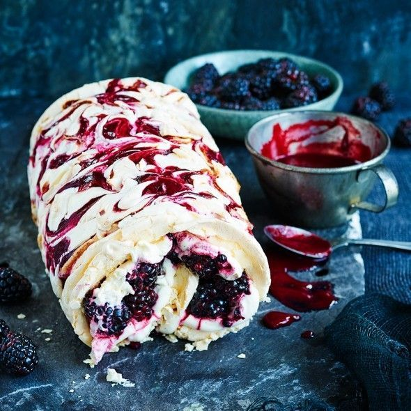 Swirling blackberry purée through the meringue gives a pleasing jammy texture once cooked and a pretty pattern when rolled.