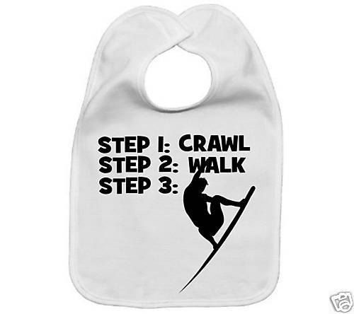 Crawl walk surf surfer cool custom baby infant bib color choice pink blue black white shower gift idea