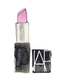 lipstick make-up nars illustration pink bright fashion art illustratie