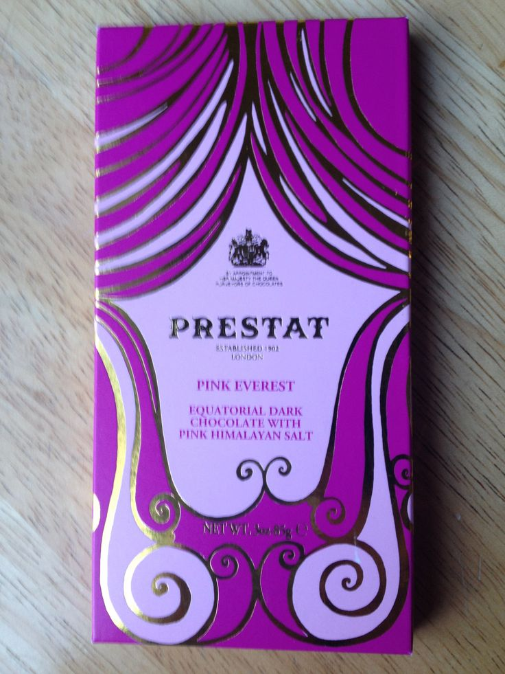 Prestat Chocolate - Pink Everest:  Equatorial Dark Chocolate with Pink Himalayan Sea Salt
