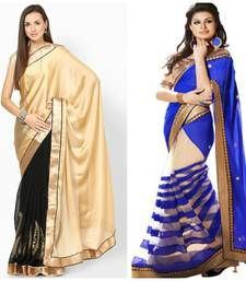 Buy golden and blue embroidered georgette saree with blouse sarees-combo-sari online