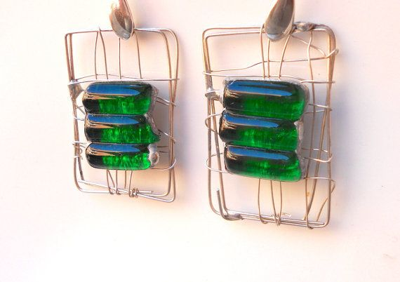 """Green glass and gratings silver bright green glass by LaTerraCantaMONTH JANUARY DISCOUNT CONTINUE!!! """"RENEWAL1""""30%off"""