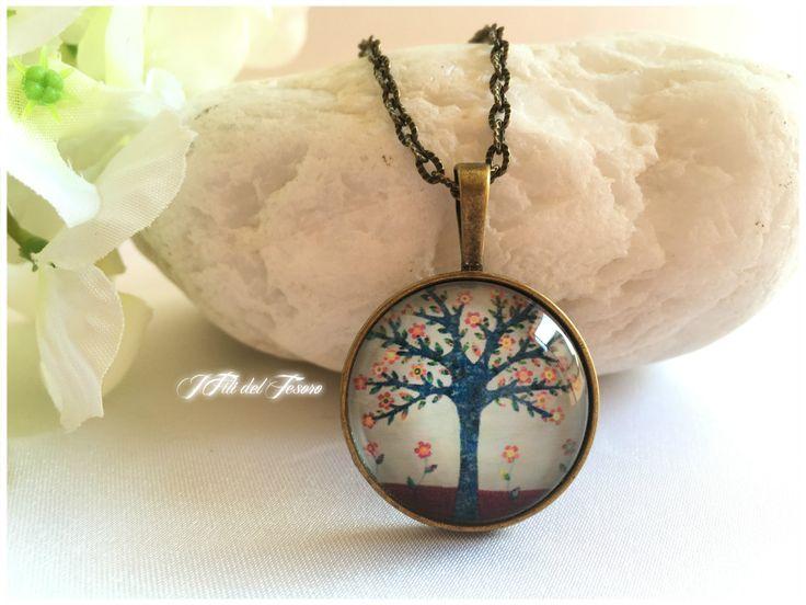 Collana bronzo albero della vita, medaglione albero della vita, ciondolo con cabochon albero della vita, spiritual, zen, bohochic, regalo di IFilidelTesoro su Etsy