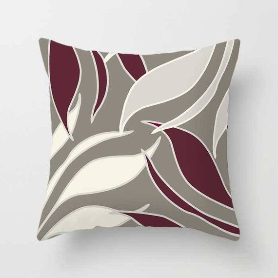Burgundy Pillow Covers Throw Pillows Wine Dark Red Maroon Etsy Burgundy Pillows Maroon Throw Pillow Grey Cushion Covers