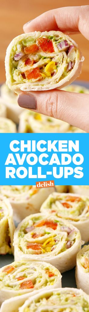 These chicken avocado salad pinwheels double as a nutritious lunch and an adorable party appetizer.
