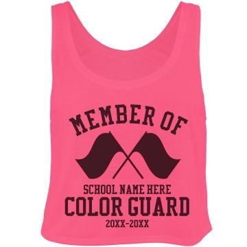 Color Guard Member Crop Top Tank Top. Cute design for marching band camp, winter guard traveling and back to school.