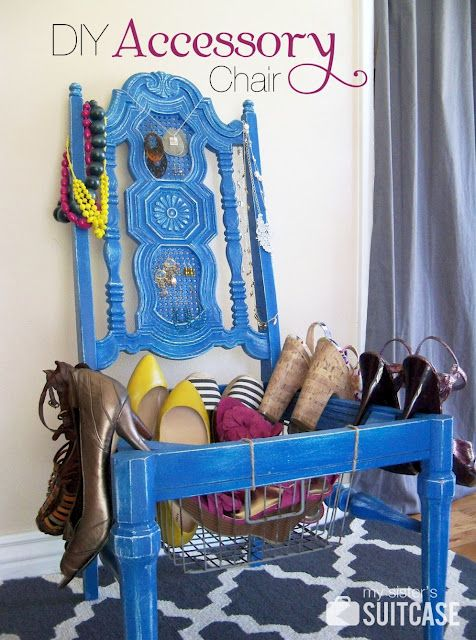 What a great repurposed chair project -  And I'm a sucker for a blue chair.