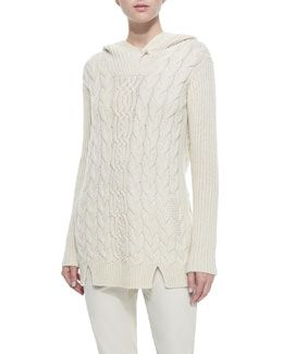 W07EE Loro Piana Cashmere Cable-Knit Hooded Tunic