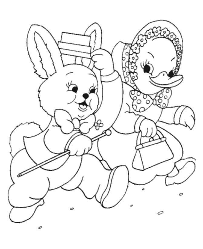 Easter Ducks Coloring Page