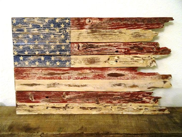 Rustic American Flag Hand Crafted From Reclaimed Wood   Patriotic   Fourth  Of July Decor By