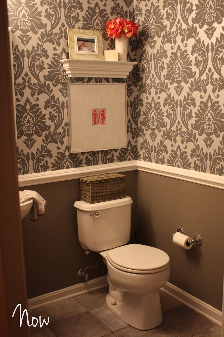 The Awesome Web Half bath idea gray and white damask wallpaper w crown molding u gray walls