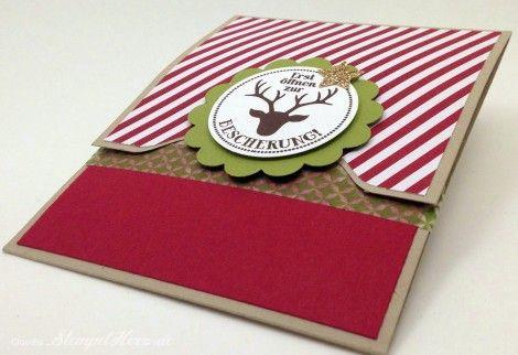 Stampin Up - Stempelherz - Gutscheinkarte - Weihnachtskarte - Umschlagfalzbrett - Auf die Geschenke, fertig los - Kleiner Wunscherfüller - G...