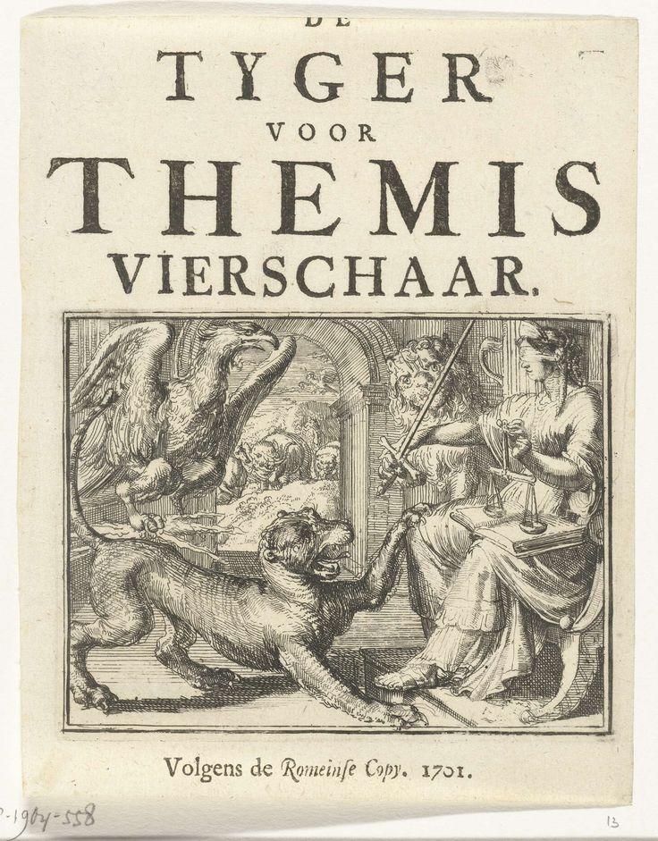 Romeyn de Hooghe | Titelblad voor het pamflet: De Tyger voor Themis Vierschaar, 1701, Romeyn de Hooghe, 1701 | Titelblad voor het pamflet: De Tyger voor Themis Vierschaar, 1701. De tijger (Frankrijk) en de adelaar (Keizerrijk) voor Justitia / Themis. Spotprent op de aanhoudende Franse bemoeienis met de Spaanse erfopvolging.