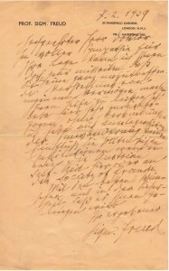 Emouvante lettre autographe de Sigmund Freud alors en exil à Londres