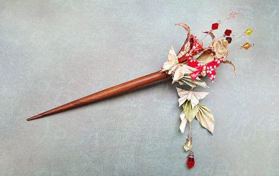 Origami Haar Stick Blumen Schmetterlinge, asiatischen japanischen Haarstab, Kimono-Haar-Accessoire, Origami Schmuck, Hochzeit Haarstab, Massanfertigung