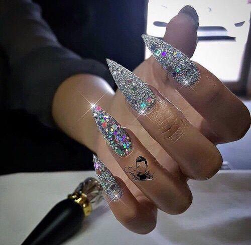 Custom silver bling stiletto nails