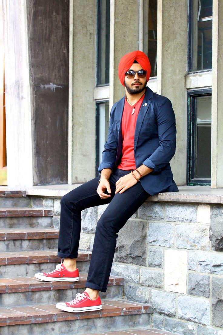Mensfashion Menswear Street Style Mens Urban Sardar Turban Sikh Singh Pagg Turban Black Jeans