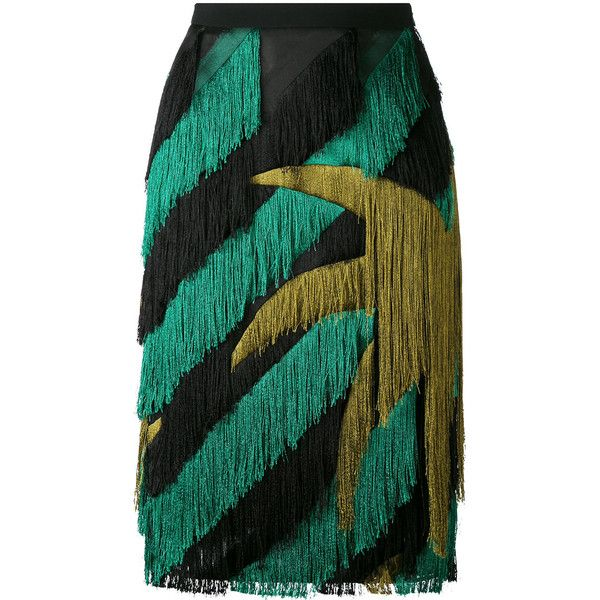 Marco De Vincenzo striped fringed straight skirt found on Polyvore featuring skirts, black, stripe skirt, marco de vincenzo, fringe skirts, striped skirt and straight skirt