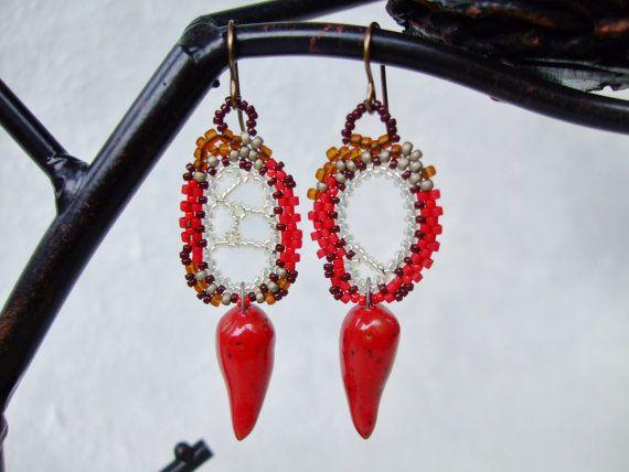 Red Ivory Brown Freeform Peyote Earrings with by PhantasmCreates