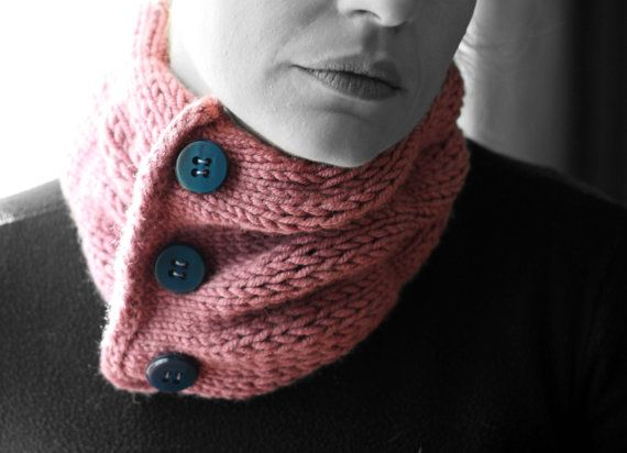Neck warmer deep  pink  blue buttons by MmeDefargeYarnworks