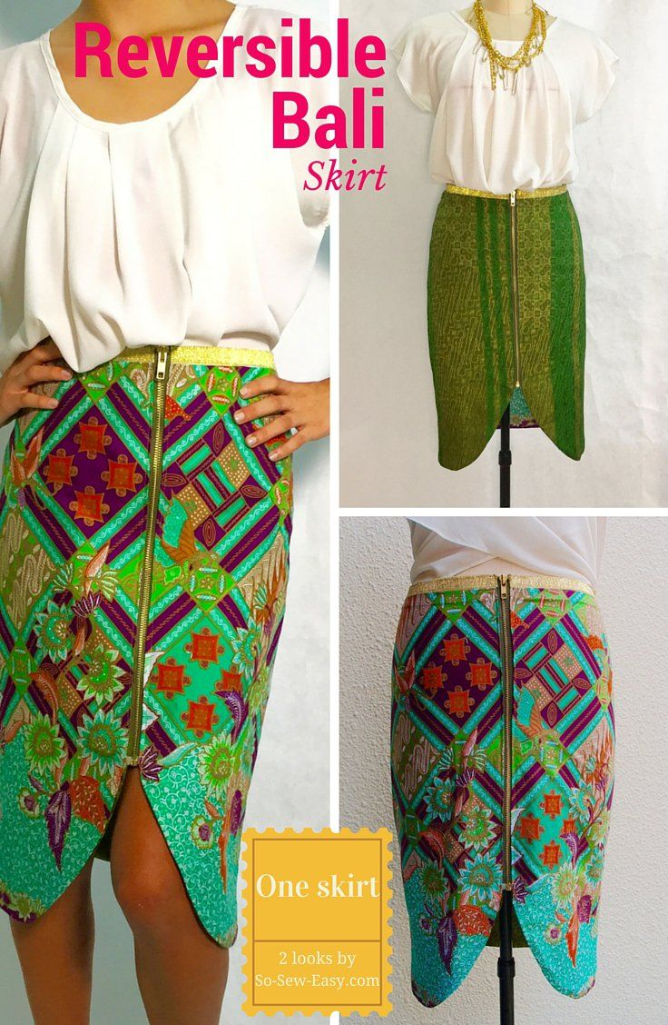 One skirt and two looks.  Here's a beautiful reversible skirt we made from Batik fabric but that you can make from any contrasting fabrics.