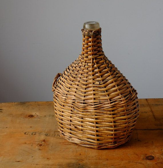 French Antique Wine Bottle and Wicker Basket by Metoox on Etsy