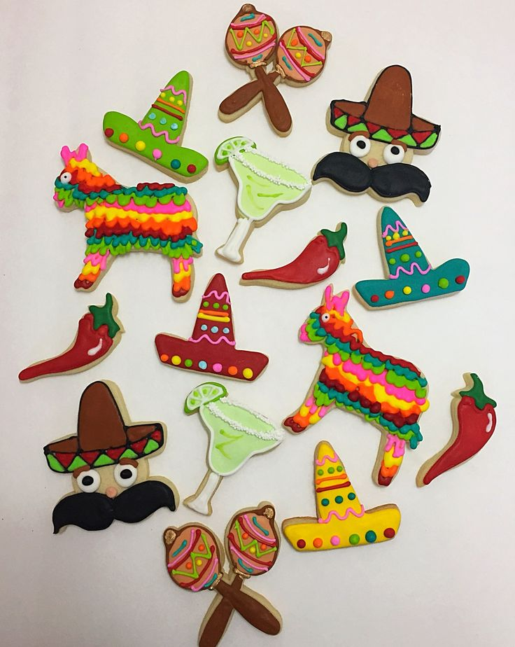 Mexican fiesta themed sugar cookies. Piñata, sombrero, margarita, chili peppers, maracas & Mr. sombrero man
