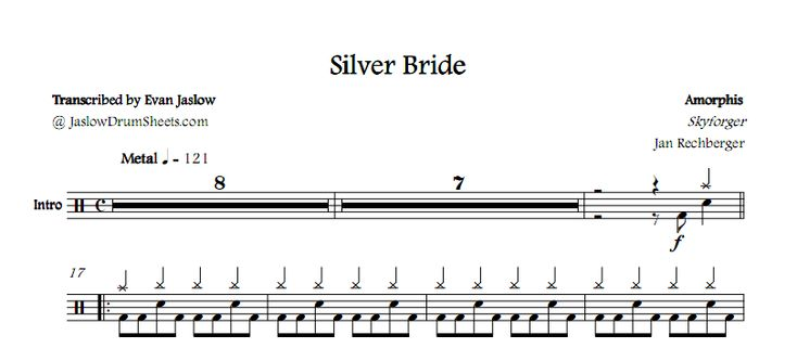 Drum tab sheet music transcription of Silver Bride by Amorphis. Taken from the 2009 album Skyforger. Notation key included. Metal. Difficulty 3/5. #drums #drumsheetmusic #amorphis