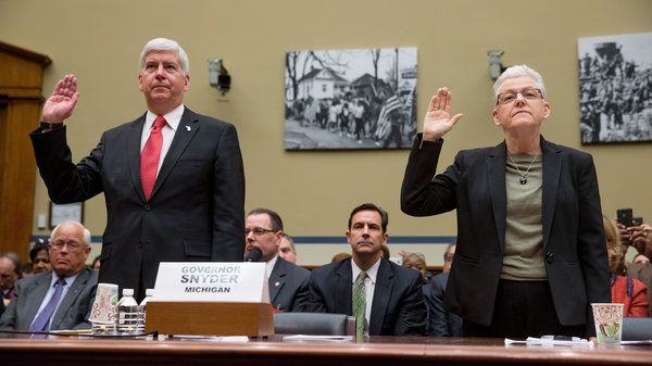 """This was a failure of government at all levels. Local, state, and federal officials – we all failed the families of Flint."" Michigan Gov. Rick Snyder and EPA Administrator Gina McCarthy are sworn in to testify before the House Oversight and Government Reform Committee hearing in Washington on Thursday."