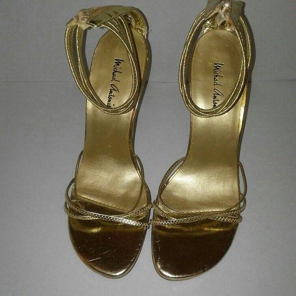 Michael Antonio Women' Gold Strappy Sandals Size 7 #MichaelAntonio #Strappy #Clubwear